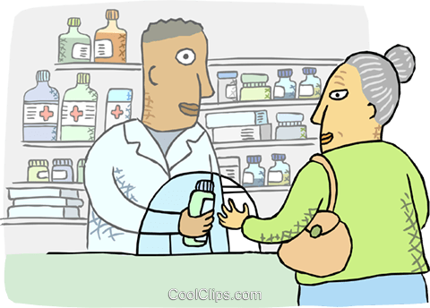 Pharmacist dispensing medication Royalty Free Vector Clip Art illustration busi2504