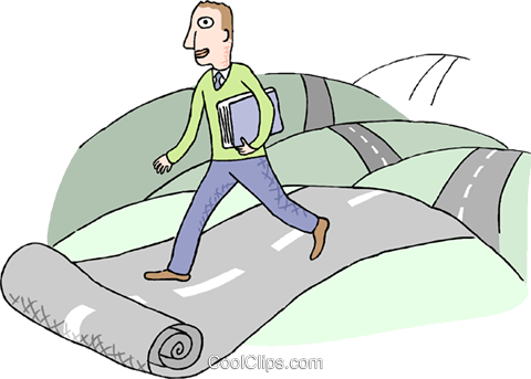 man who follows his own road, metaphor Royalty Free Vector Clip Art illustration busi2506