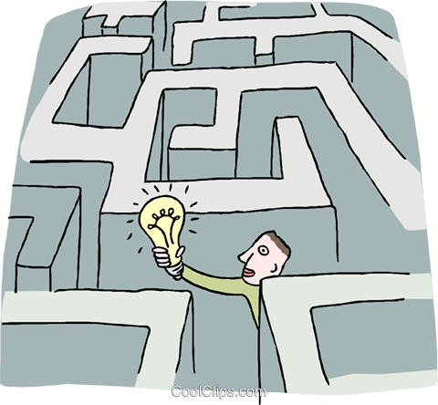 man with a light bulb in a maze Royalty Free Vector Clip Art illustration busi2507