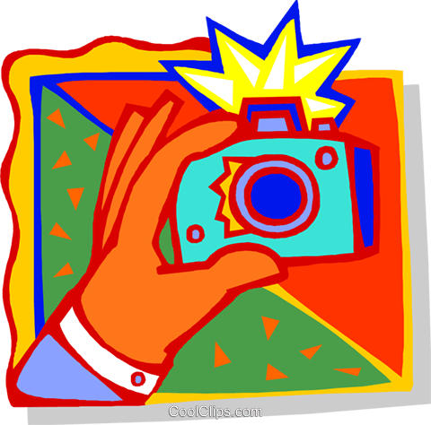 Hand with camera Royalty Free Vector Clip Art illustration busi2517
