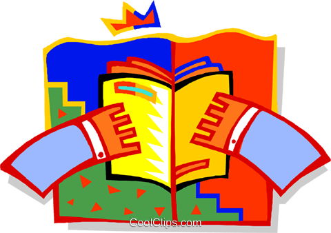 Hands holding book Royalty Free Vector Clip Art illustration educ0037
