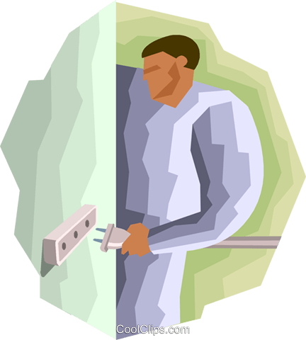 Figure connecting plug to power Royalty Free Vector Clip Art illustration indu1082