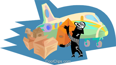 Figure moving cargo on to aircraft Royalty Free Vector Clip Art illustration indu1089