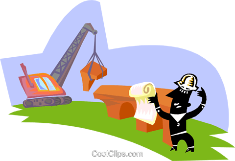 Man directing construction equipment Royalty Free Vector Clip Art illustration indu1090