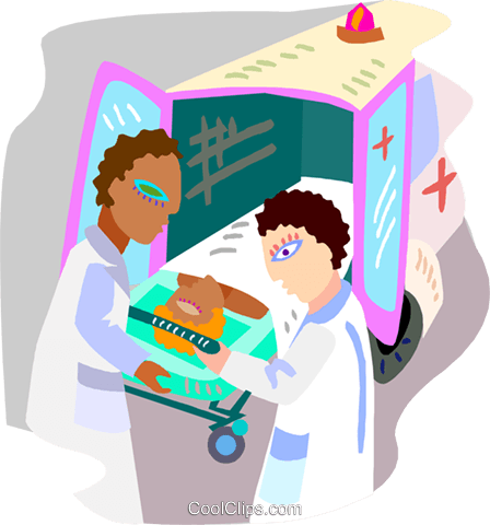 ambulance attendants with a patient Royalty Free Vector Clip Art illustration medi0410