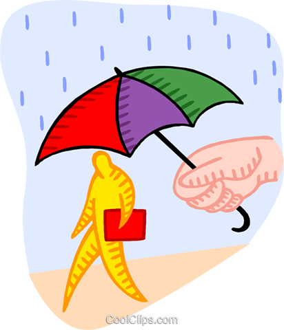 human form walking through the rain Royalty Free Vector Clip Art illustration natu1015