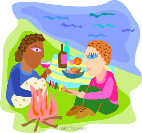 Couple having a picnic  on the beach Royalty Free Vector Clip Art illustration peop4247