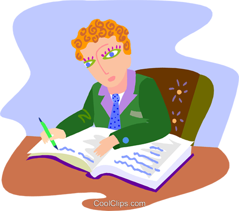 businessman writing in his journal Royalty Free Vector Clip Art illustration peop4249