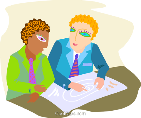 business men discussing plans Royalty Free Vector Clip Art illustration peop4250