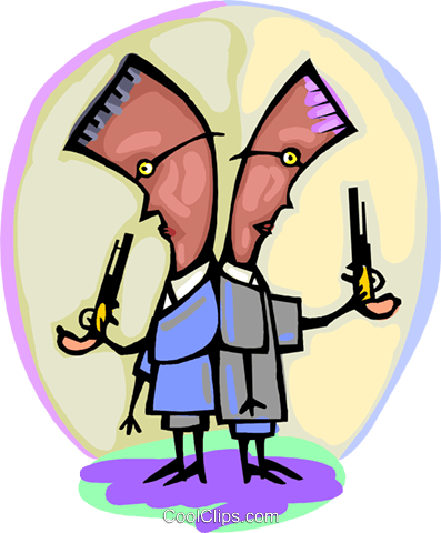 two duelers ready to count off paces Royalty Free Vector Clip Art illustration peop4257
