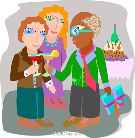employee being given a retirement party Royalty Free Vector Clip Art illustration spec0431