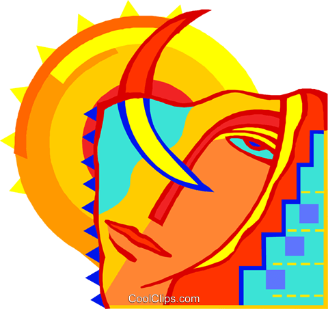 Face with sun and moon Royalty Free Vector Clip Art illustration spor0548