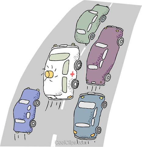 ambulance racing through traffic Royalty Free Vector Clip Art illustration tran1042