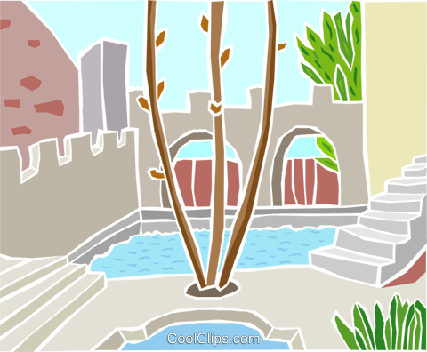 pool with walkway and trees Royalty Free Vector Clip Art illustration arch0619