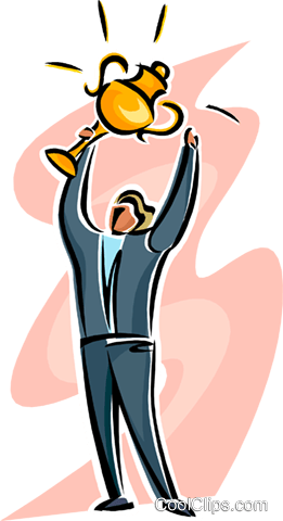 man holding a trophy above his head Royalty Free Vector Clip Art illustration busi2544