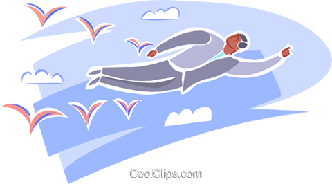 man flying through the sky with the birds Royalty Free Vector Clip Art illustration busi2549