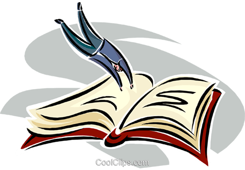 diving into a book Royalty Free Vector Clip Art illustration busi2553