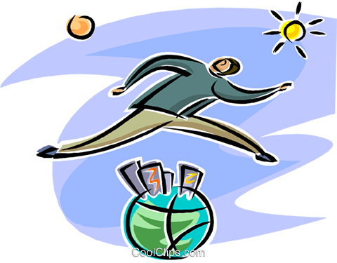 man jumping over the globe Royalty Free Vector Clip Art illustration busi2554