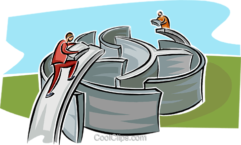 men building a bridge over a maze Royalty Free Vector Clip Art illustration busi2557