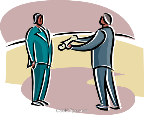 man handing a document to another Royalty Free Vector Clip Art illustration busi2558