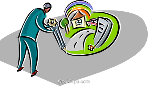 man designing a home Royalty Free Vector Clip Art illustration busi2560