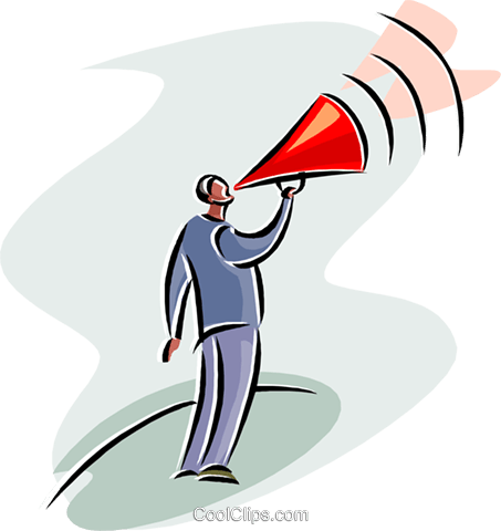 businessman shouting out instructions Royalty Free Vector Clip Art illustration busi2563