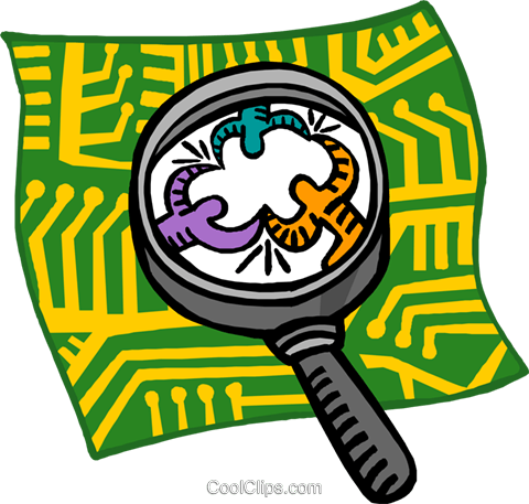 magnifying glass examining connections Royalty Free Vector Clip Art illustration busi2565