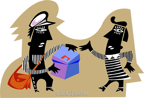 Two people exchanging mail Royalty Free Vector Clip Art illustration busi2573