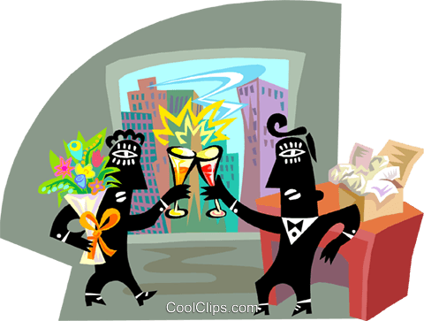 Two people celebrating Royalty Free Vector Clip Art illustration busi2575