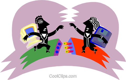 Figures connecting Royalty Free Vector Clip Art illustration busi2578