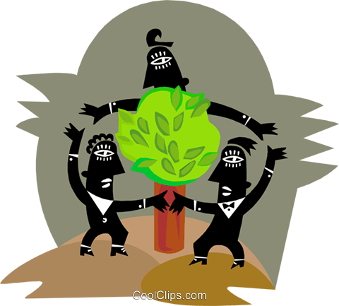 Figures dancing around tree Royalty Free Vector Clip Art illustration busi2579