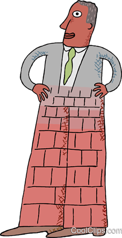 man with brick legs, stone wall Royalty Free Vector Clip Art illustration busi2581