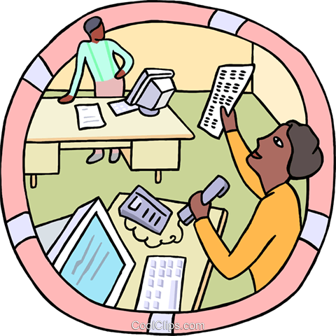 office workers, business computers Royalty Free Vector Clip Art illustration busi2597