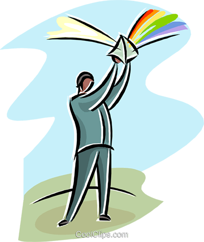 man with a prism reflecting light Royalty Free Vector Clip Art illustration busi2600