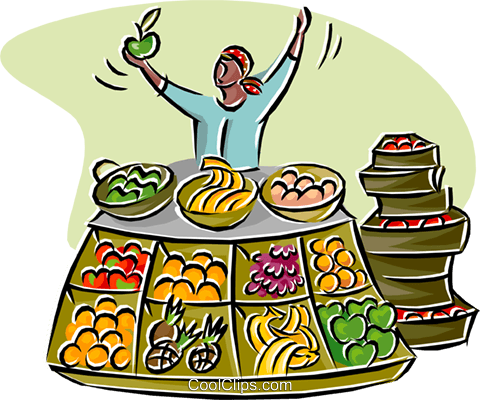 merchant selling fruits and vegetables Royalty Free Vector Clip Art illustration busi2603