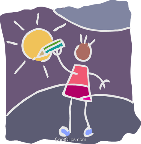 child drawing a sun with a pencil crayon Royalty Free Vector Clip Art illustration educ0038