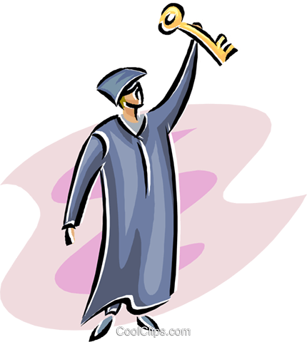 Scholar with a key to his future Royalty Free Vector Clip Art illustration educ0039