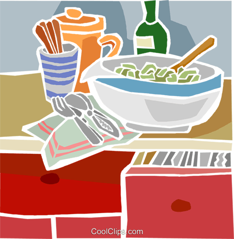 salad preparation Royalty Free Vector Clip Art illustration food1248