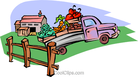 fruit and vegetable truck Royalty Free Vector Clip Art illustration indu1103