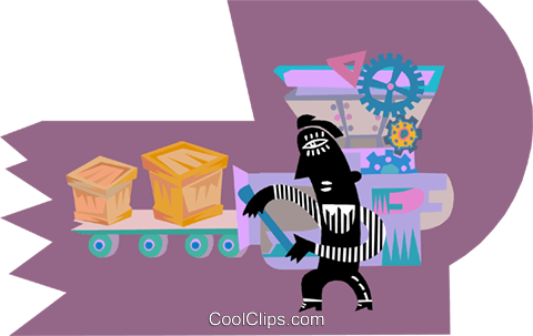 Figure moving goods along conveyer belt Royalty Free Vector Clip Art illustration indu1107