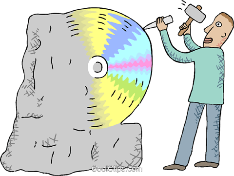 man carving a CD disk from a stone block Royalty Free Vector Clip Art illustration indu1109