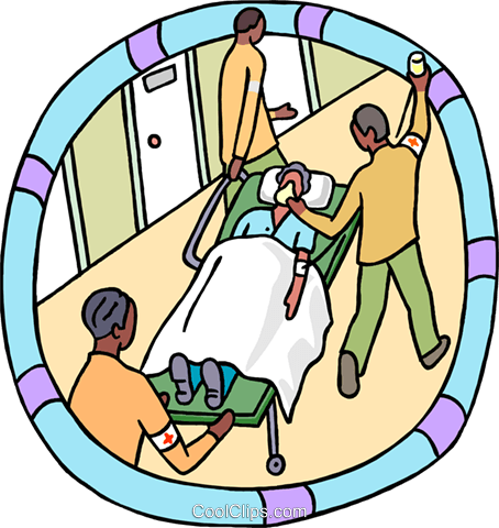 emergency patient on a stretcher Royalty Free Vector Clip Art illustration medi0431