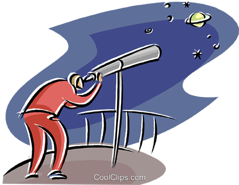 man looking through a telescope Royalty Free Vector Clip Art illustration natu1023