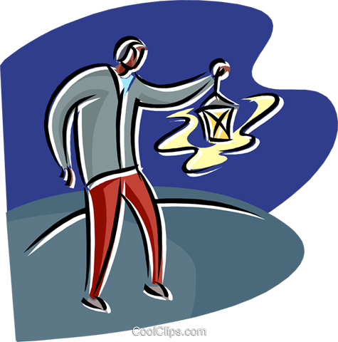 man finding his way with a lamp Royalty Free Vector Clip Art illustration peop4259