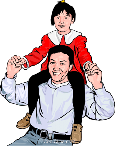 Proud father and child Royalty Free Vector Clip Art illustration peop4262