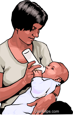 Mother nursing her child Royalty Free Vector Clip Art illustration peop4270