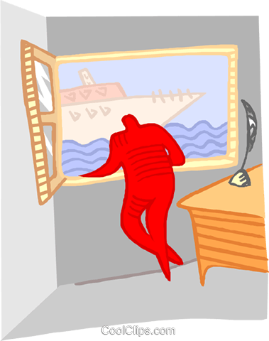looking out the window at a yacht Royalty Free Vector Clip Art illustration trav0218