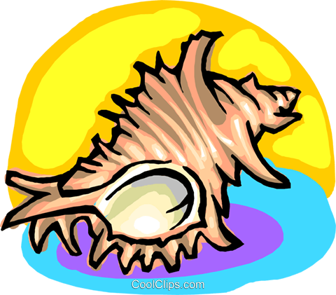 Seashell Royalty Free Vector Clip Art illustration anim2210
