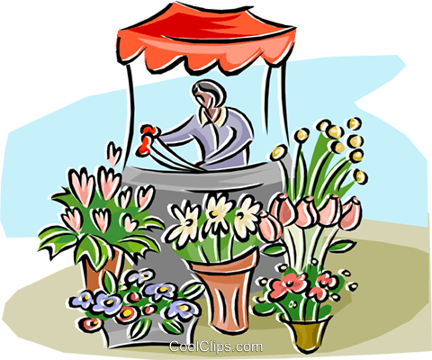 Flower stand with a woman selling flowers Royalty Free Vector Clip Art illustration busi2604
