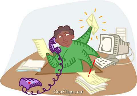 harried business man working Royalty Free Vector Clip Art illustration busi2606